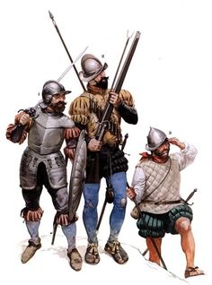 "Spanish Tercios in the period of the Emperor Carlos V. ... 1. Shield bearers ""Sword and buckler men"" ... 2. Arquebusier ... 3. Pikemen"