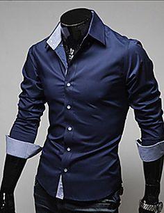 Camisa De los hombres Un Color Casual / Trabajo / Formal-Algodón / Poliéster-Manga Larga-Negro / Azul / Rojo / Blanco