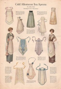 The one the lady is wearing on the left. I have plans for one like that --- 1911 Ladies Home Journal Print Girl's Afternoon Tea Aprons Actresses Dresses Sewing Aprons, Sewing Clothes, Diy Clothes, Ladies Clothes, Ladies Hats, Retro Mode, Mode Vintage, Historical Costume, Historical Clothing