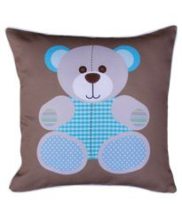 love love love our BoscoBear Kids Cushion for newborn boy nursery, goes beautifully with neutral bedding and white or wood furniture