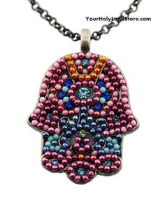 #Hamsa Hand Necklace with Crystals and Beads, $14.99 (http://www.yourholylandstore.com/hamsa-hand-necklace-with-crystals-and-beads/)