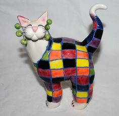 Whimsiclay cat figurine, Amy Lacombe, Checkers | eBay