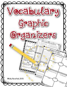 Vocabulary graphic organizers.  Perfect for vocabulary study, centers, homework, close reading, and more!  $