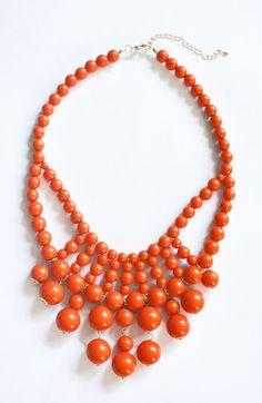 Rich Orange Necklace  Bauble Necklace  by ShamelesslySparkly, $9.90