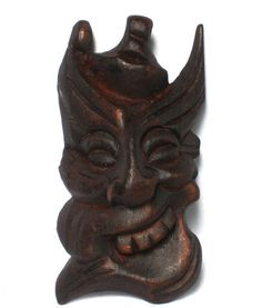 Chinese Traditional Black Woody Hand Carved Guizhou DIXI Blessing Mask DZ145