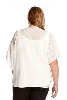 21ad215b85d Karen Kane Plus Size Fashion White Lace Coronado Beaded Tie-Front Top  available from Dillards