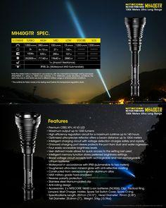 NITECORE MH40GTR XP-L HI V3 1200LM 6 Modes Tactical Tail Switch LED Flashlight Kit 18650 Battery