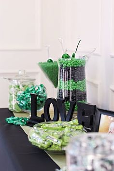 "I like the ""love"" letters…Simple Candy Table - but in my colors @Sarah Thomas"