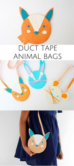 DIY Duct Tape Animal Bag for Kids. Such a cute and easy accessory for kids to make!