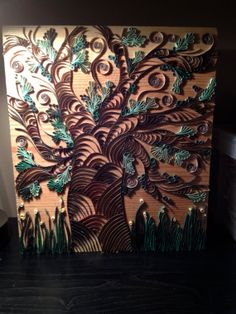 Tree of Life - Quilling Toilet Paper Roll Art, Toilet Paper Crafts, Quilling Ideas, Quilling Art, Wrought Iron Wall Art, Quilling Techniques, Inspirational Wall Art, Tree Of Life, 2d