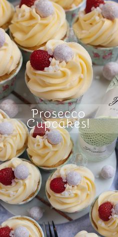 Boozy Prosecco Cupcakes with Prosecco Soaked Sponges, Prosecco Buttercream Frosting, and more! The perfect cupcakes for any celebration! Cake Mix Recipes, Cupcake Recipes, Baking Recipes, Dessert Recipes, Cupcake Ideas, Baking Tips, Baking Ideas, Baking Cupcakes, Yummy Cupcakes