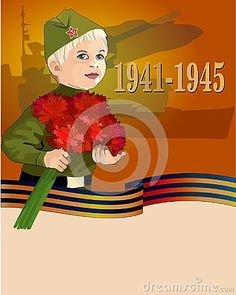 Illustration of May 9 background with boy and carnations