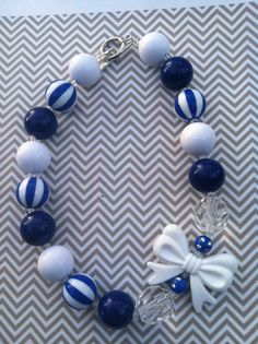 So cute for UK games!! Chunky Bubblegum Necklace, UK necklace, blue and white, girls necklace