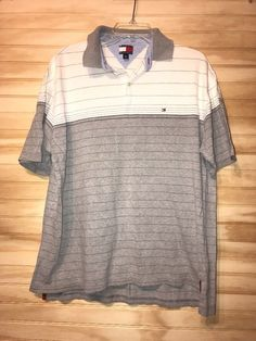 tommy hilfiger Polo Color Block Stripes Logo Gray White Shirt Sz L #TommyHilfiger #PoloRugby