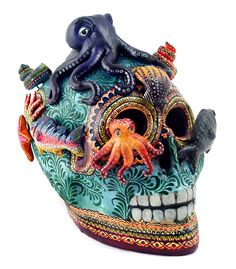 """Full fathom five thy father lies,/Of his bones are coral made,/Those are pearls that were his eyes:/ Nothing of him that doth fade/But doth suffer a sea-change/Into something rich and strange.   --from The Tempest, William Shakespeare    (""""Sea Life"""" skull by Alfonso Castillo Orta)"""