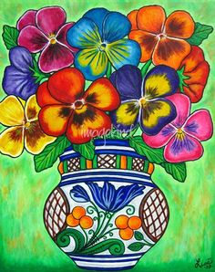 "Popular Folk Embroidery Pansy Parade by Lisa Lorenz - ""Pansy Parade"" by Lisa Lorenz: Funky, Colorful pansies in a Hungarian Vase painted in a creative, stylish composition Mexican Artwork, Mexican Paintings, Mexican Folk Art, Art Floral, Framed Wall Art, Wall Art Prints, Hispanic Art, Mexican Flowers, Mexico Art"