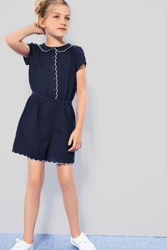 Buy Navy Scalloped Playsuit (3-16yrs) from the Next UK online shop