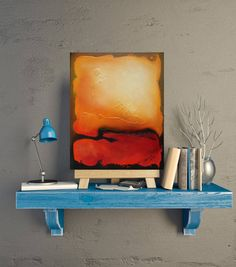 Warm colors small textured abstract painting Red yellow orange hues Hot landscape Arizona desert inspired original oil painting  Home decor by SyzymStudio on Etsy