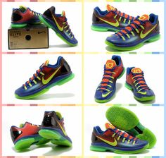 Nike Zoom Kevin Durant\u0026#39;s KD V Elite Low #Basketball #Shoes Blue Green Red