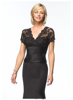 Glamorous Black V-Neck Lace Empire Wasit Mermaid / Trumpet Short Sleeves Satin Mother Of Bride Dress