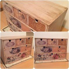 Scatola in legno dipinta e decorata con trasferimento di immagini