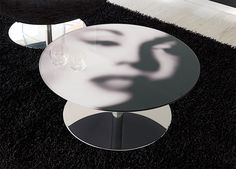 Furniture Mind - Contemporary Furniture | Modern Furniture - Modern Unico Viso Round Glass Coffee Table with Optional Printed Top