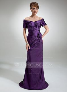 Mother of the Bride Dresses - $158.99 - Sheath Off-the-Shoulder Sweep Train Taffeta Mother of the Bride Dress With Ruffle Beading Flower(s) (008006321) http://jjshouse.com/Sheath-Off-The-Shoulder-Sweep-Train-Taffeta-Mother-Of-The-Bride-Dress-With-Ruffle-Beading-Flower-S-008006321-g6321
