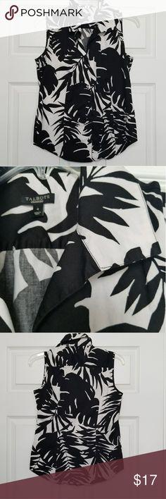 Talbots  Black white Palm print sleeveless sz 4 Talbot's black-and-white Palm print sleeveless collared  cotton button up.  Sz 4 Talbots Tops Button Down Shirts
