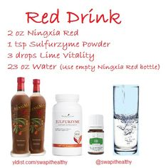 Add Young Living Ningxia Red, Sulfurzyme Powder and Lime Vitality essential oil to your water to experience all kinds of health benefits and make getting your daily water intake super easy and delicious! yldist.com/swapithealthy