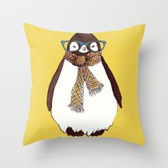 """Hipster Penguin"" Throw Pillow by Talula Christian  - $20.00"