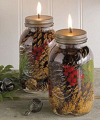 Mason Jar Oil Lamp----mason jar w/ lids (flat cap lid & ring lid), smokeless odorless paraffin oil, fiberglass wick, wick holder insert (glass or metal), drill, pine cones, evergreen, berries, holly, seedpods, lichen/moss, fern fronds, sticks.  Put items in jar.  Fill w/ unscented oil.  Drill hole in top of lid. Thread wick thru wick holder insert.  Place wick (& wick holder insert) in hole & put lid on jar making sure wick hangs in the center of jar.  Screw lid on jar.
