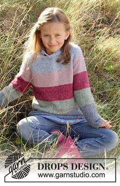 Children - Free knitting patterns and crochet patterns by DROPS Design Easy Baby Knitting Patterns, Knitting Stiches, Knitting For Kids, Crochet For Kids, Knit Patterns, Free Knitting, Knit Crochet, Drops Design, Girls Sweaters