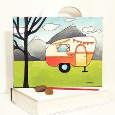Orange RV Wall Art Nursery Decor, Camper Trailer Original Acrylic Painting