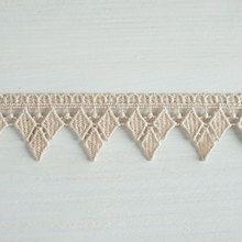 #Organic #lace #trim  32 mm wide natural ecru cotton colour undyed, diamond point drop www.lancasterandcornish.com #bridal #wedding #trim #lampshade #dressmaking #sewing #millinery #lingerie