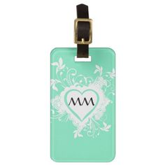 Mint green and heart monogram luggage tag