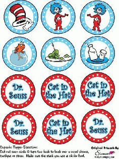Free Printable Dr Seuss Cupcake Toppers