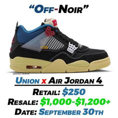 "Gefällt 2,382 Mal, 31 Kommentare - News, Leaks and Predictions (@resell.heaven) auf Instagram: ""The Union x Air Jordan 4 ""Off-Noir"" will get a wider release on September 30th via jordan.com &…"""