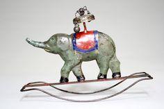Elephant on Rocker Bell Toy Cast Iron