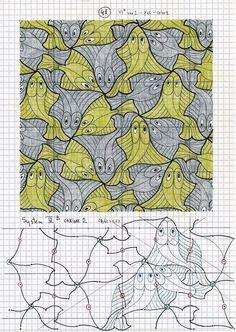 Escher Tessellations, Tessellation Patterns, Mathematical Drawing, Mc Escher Art, Pattern Art, Pattern Design, Art Doodle, Fish Graphic, 6th Grade Art