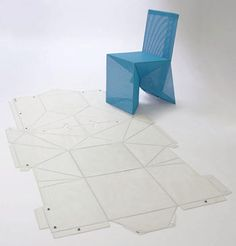 The origami chair was created by New York designer James Deiter. Just like regular origami, the strength in this chair comes in the clever folds, formed from a single sheet. Origami Chair, Origami Furniture, Cardboard Furniture, Furniture Decor, Furniture Design, Cardboard Chair, Cardboard Design, Diy Papier, Useful Origami