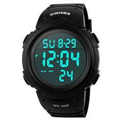 * Penny Deals * - GOHUOS Men's Sport Digital LED Back Light Screen Large Numbers Waterproof Simple Design Wrist Watch Black >>> You can get additional details at the image link.