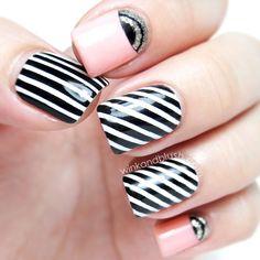 Stripes & Half Moons Nail Art Tutorial