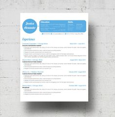 Looking for a professional resume template? The Jessica Alexander design is for you. The bright blue header is not only trendy, but eye-catching. Youll