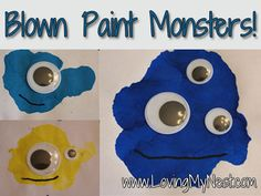 Blown Paint Monsters!  We've done blown paint process art before, but I love how they turned process art into an art product! :)