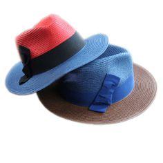 Hot Selling Woman Summer Spring Bow Wide Brim Fedoras Jazz Hat Cap Beach Sun Cap Sun Hat