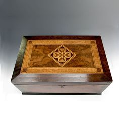 Beautiful Antique Marquetry Box fitted with Interior mirror and compartments.