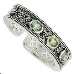 Sterling Silver with 14k Yellow Gold 8.10 Green Amethyst Cuff Bracelet Jewelry Pot. $585.99. 100% Satisfaction Guarantee. Questions? Call 866-923-4446. Your item will be shipped the same or next weekday!. All Genuine Diamonds, Gemstones, Materials, and Precious Metals. Fabulous Promotions and Discounts!. 30 Day Money Back Guarantee. Save 46%!