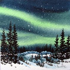 watercolor northern lights - Google Search
