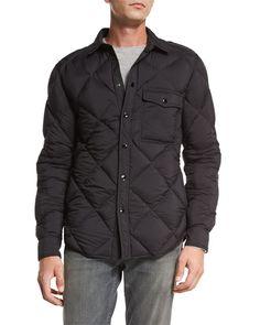 RAG & BONE Mallory Quilted Nylon Shirt Jacket, Black. #ragbone #cloth #