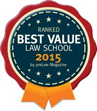 Badge for Best Value Law School 2015 from PreLaw Magazine
